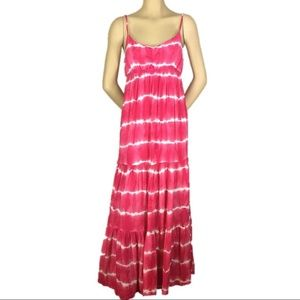 Aeropostale Maxi Dress Pink & White Tiered M